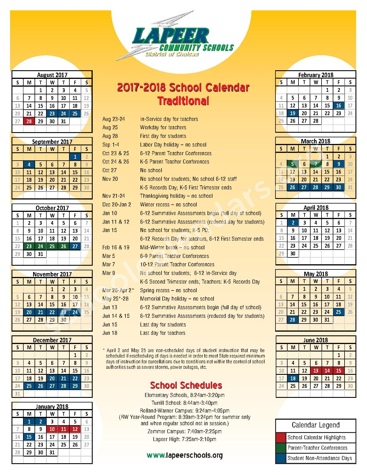 2017 - 2018 Traditional School Calendar – Lapeer Community Schools – page 1