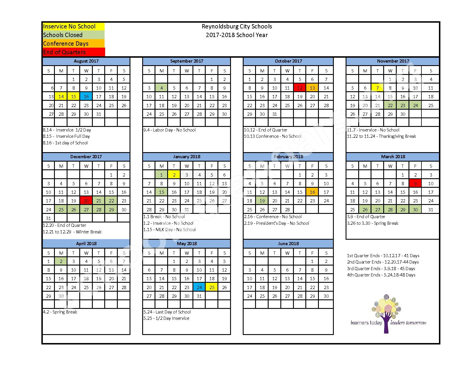 2017 - 2018 District Calendar – Herbert Mills Elementary School – page 1