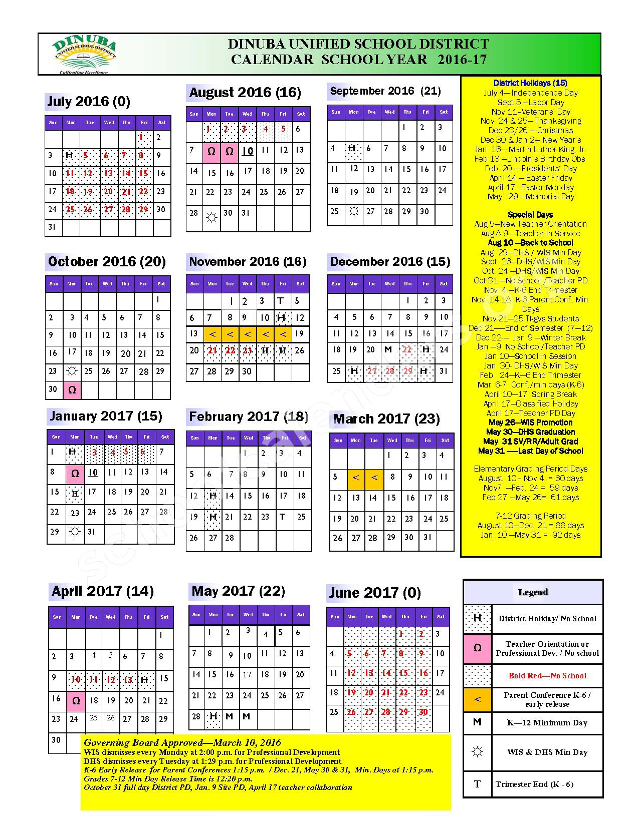 2016 - 2017 School Calendar – Dinuba Unified School District – page 1