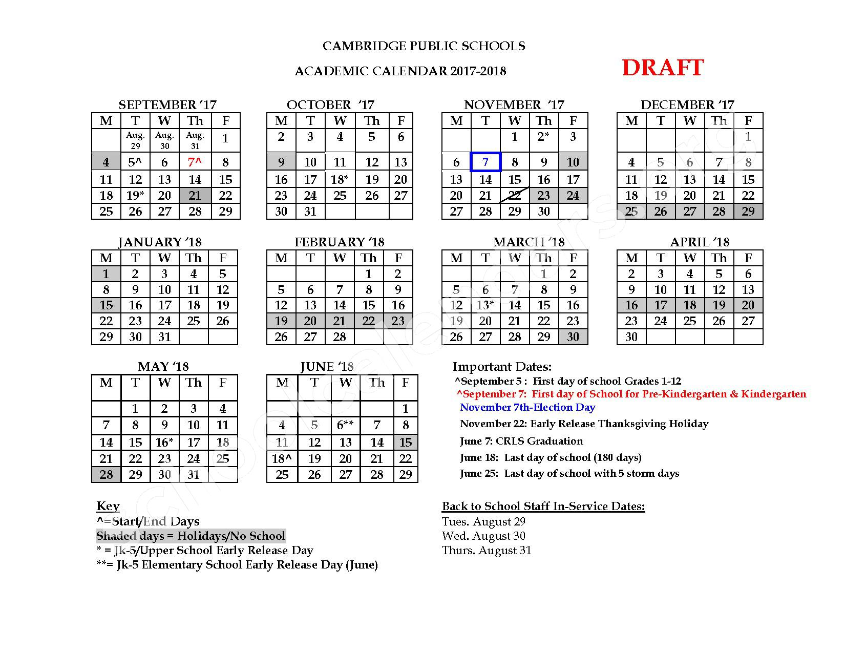 2017 - 2018 District Calendar – Cambridge Public Schools – page 1