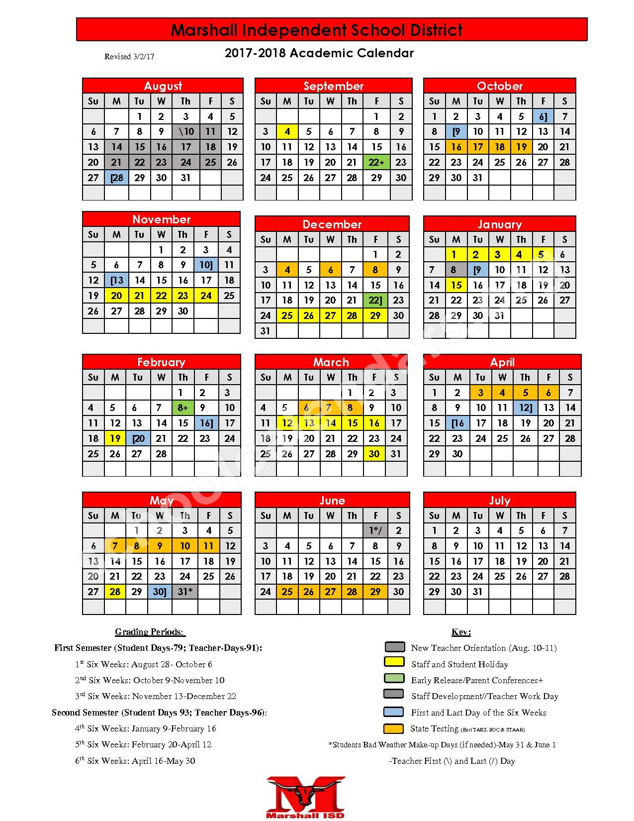 2017 - 2018 School Calendar – Marshall Independent School District – page 1