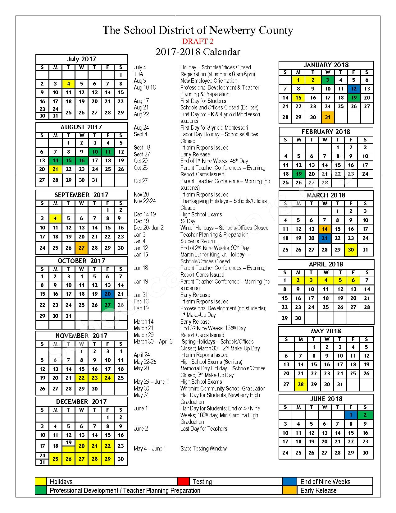 2017 - 2018 District Calendar – Newberry County School District  – page 1
