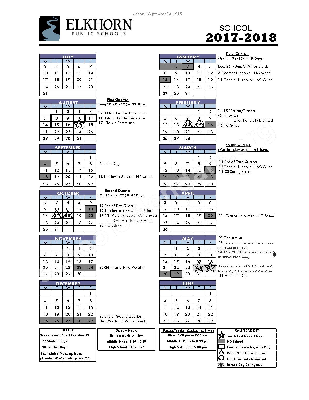 2017 - 2018 District Calendar – Elkhorn Public Schools – page 1