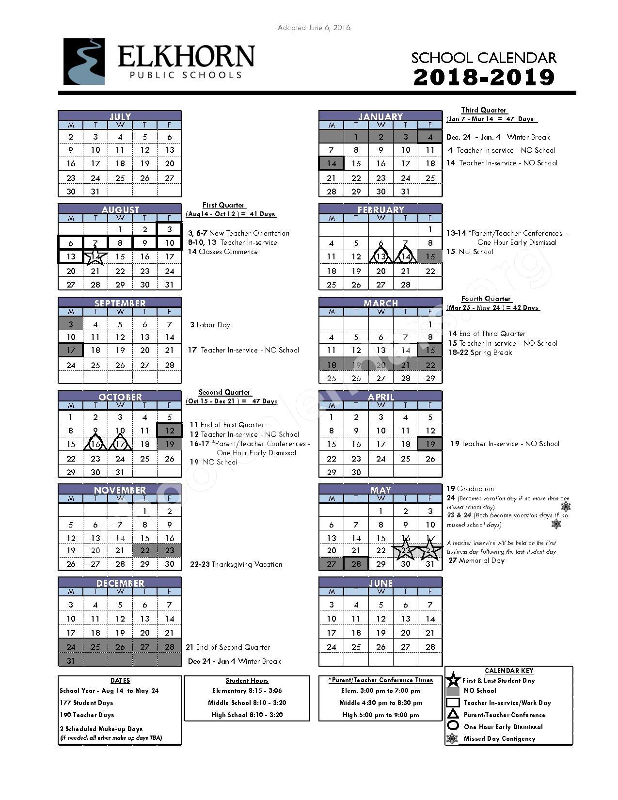 2018 - 2019 District Calendar – Elkhorn Public Schools – page 1