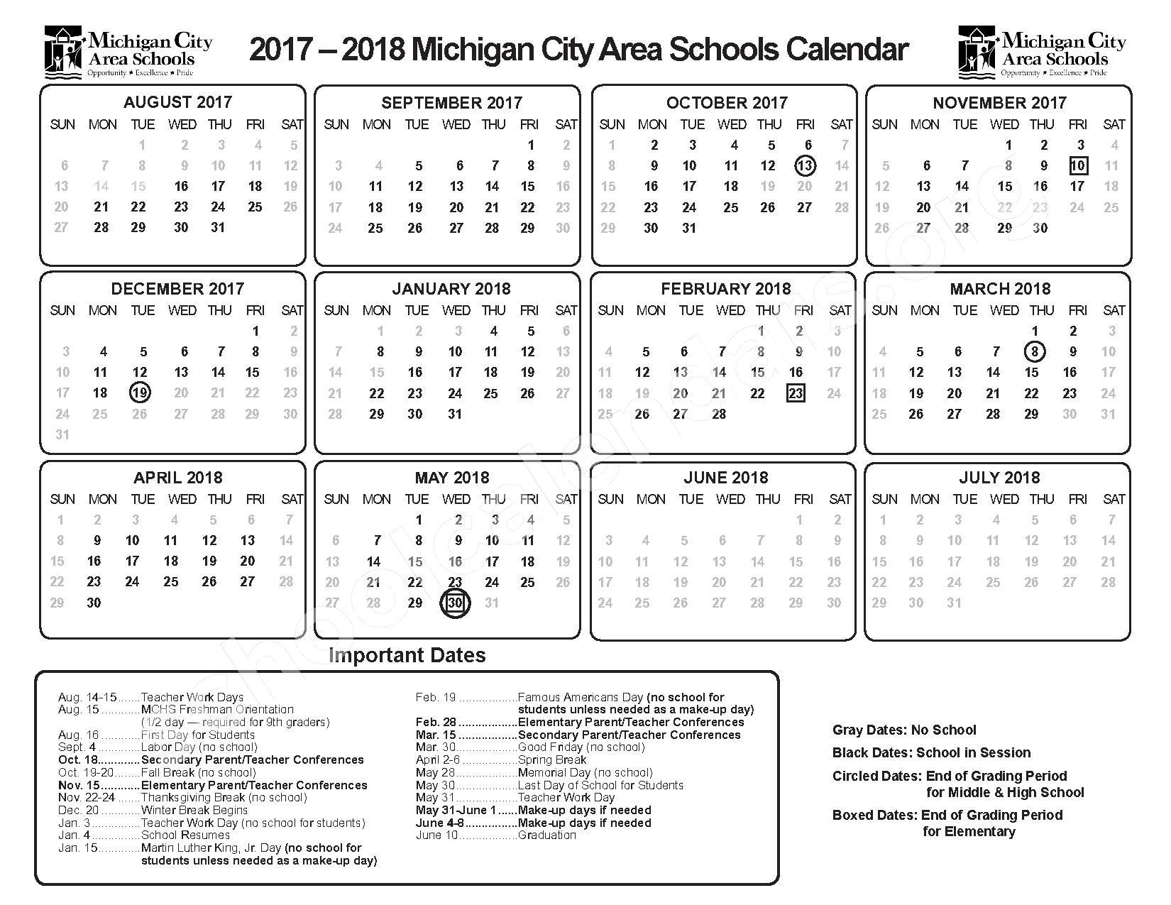 2017 - 2018 School Calendar – Michigan City Area Schools – page 1