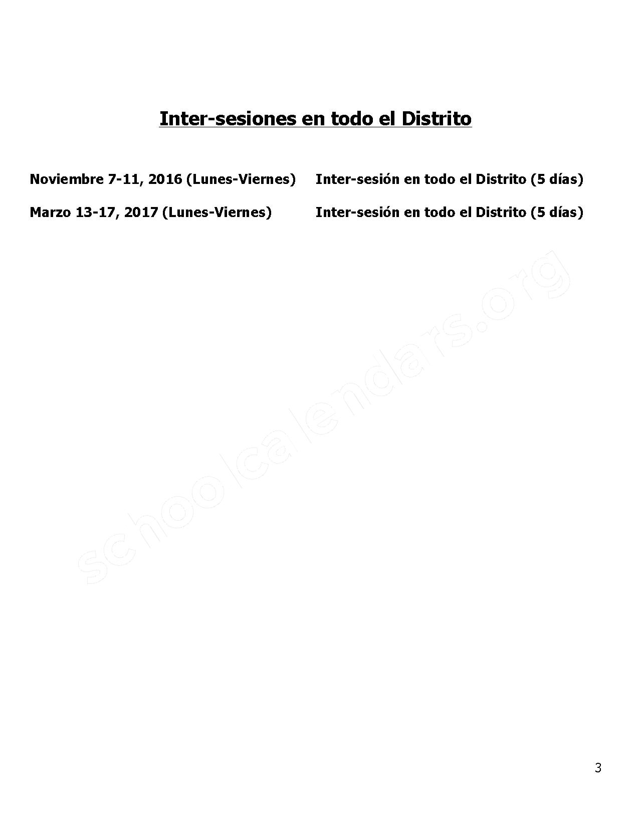 2016 - 2017 District Calendar Spanish – Owen Elementary School – page 3
