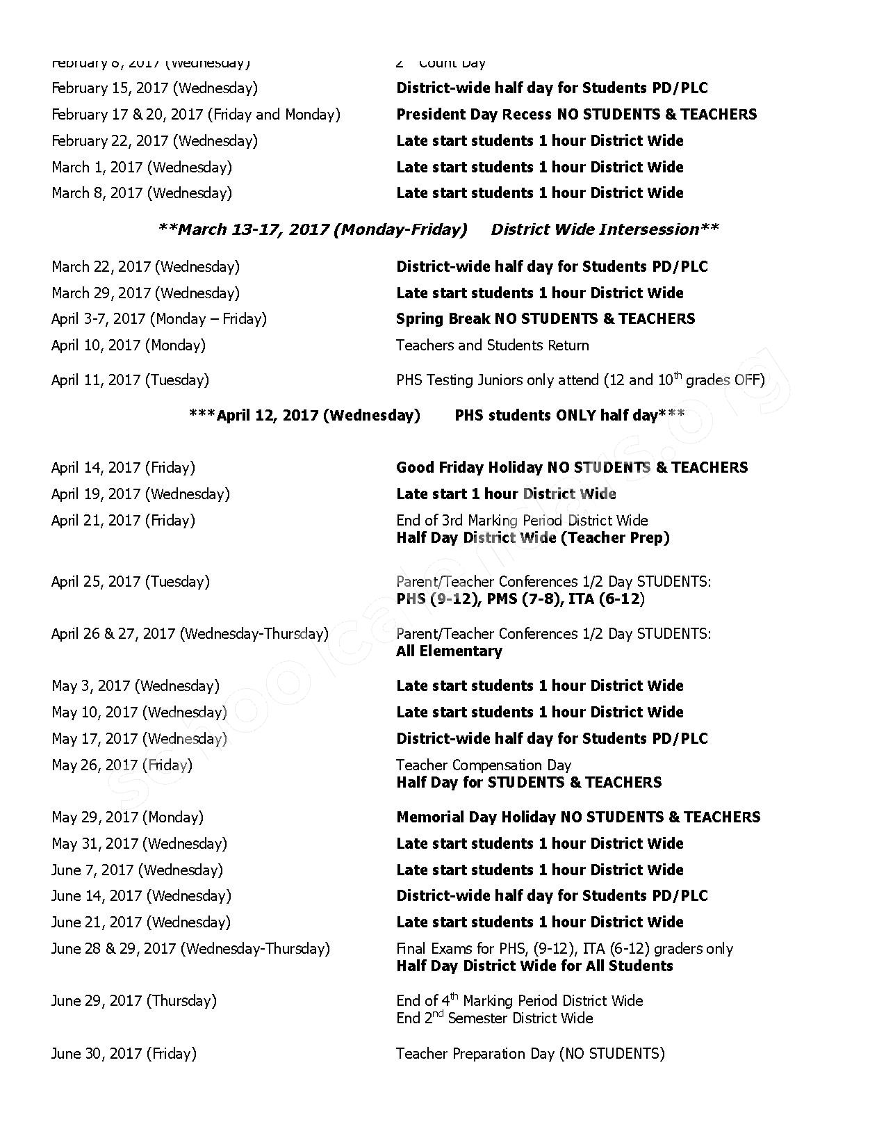 2016 - 2017 District Calendar – Herrington School – page 2