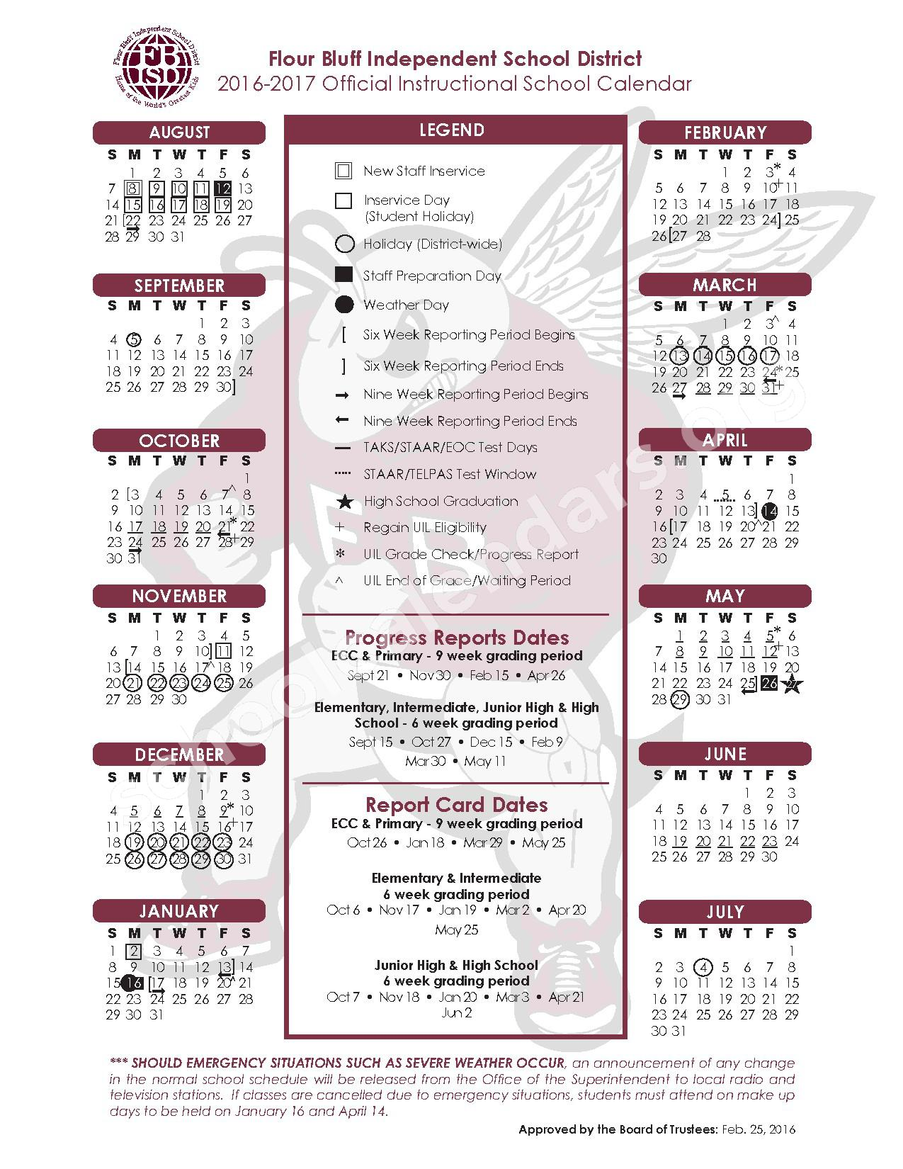 2016 - 2017 Flour Bluff ISD Calendar – Flour Bluff Independent School District – page 1
