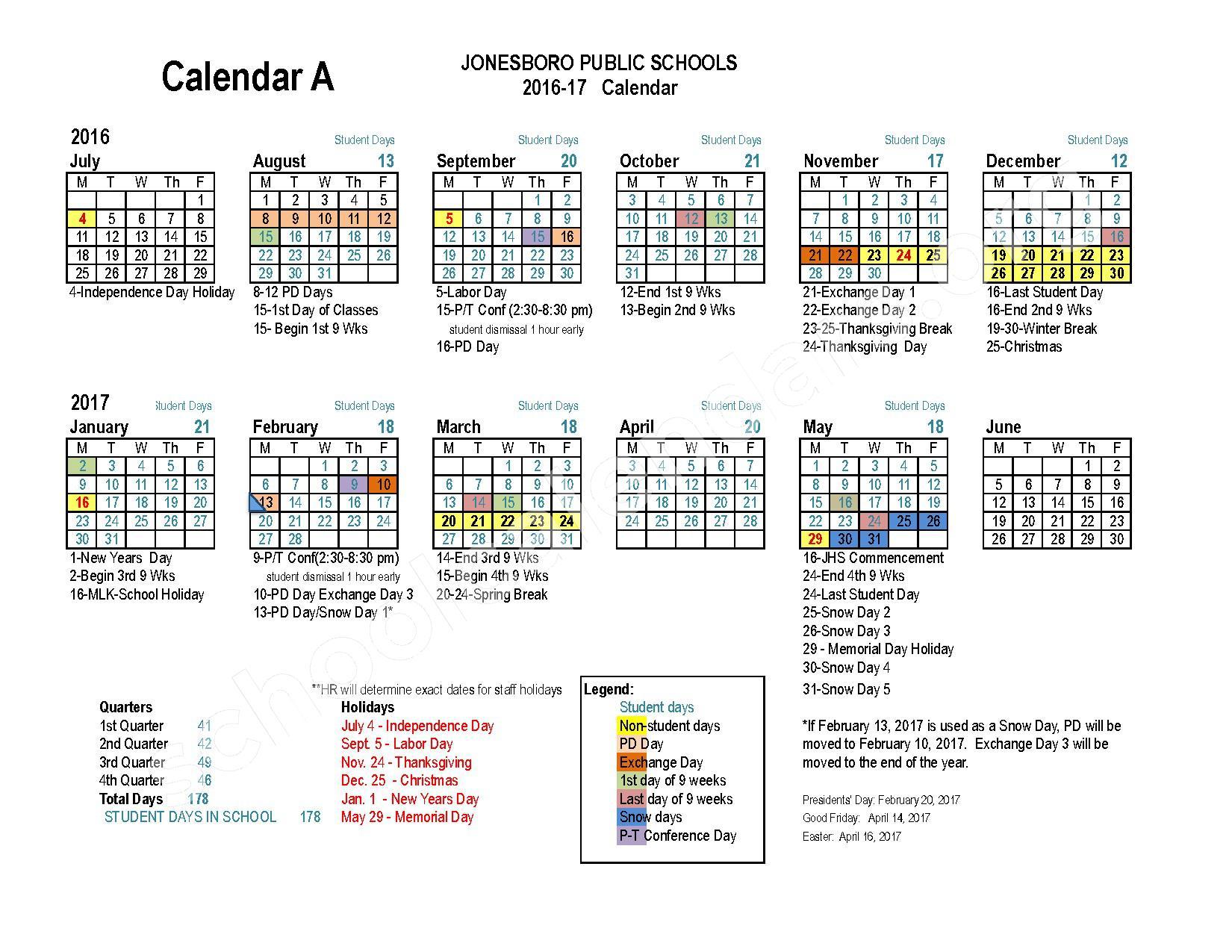 2016 - 2017 School Calendar – Jonesboro Public Schools – page 1