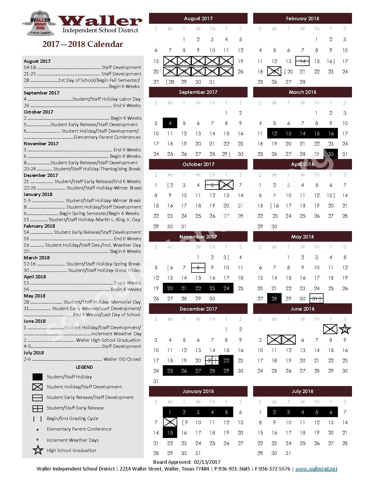 2017 - 2018 Academic Calendar – Waller Independent School District – page 1
