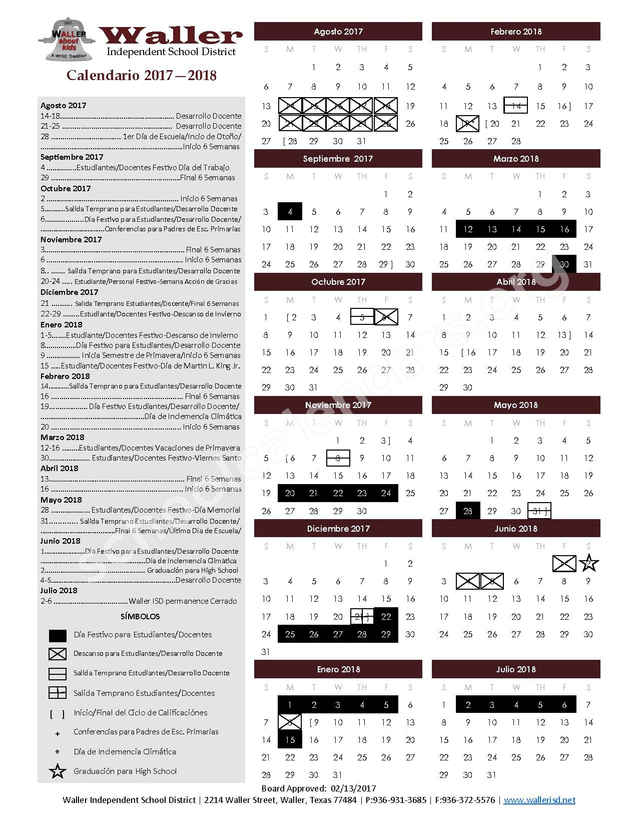 2017 - 2018 Academic Calendar – Waller Independent School District – page 1