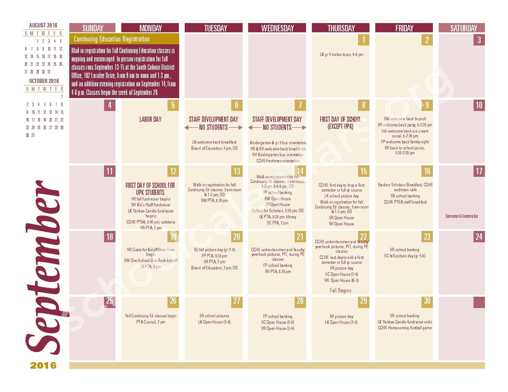 2016 - 2017 School Calendar – South Colonie Central School District – page 1