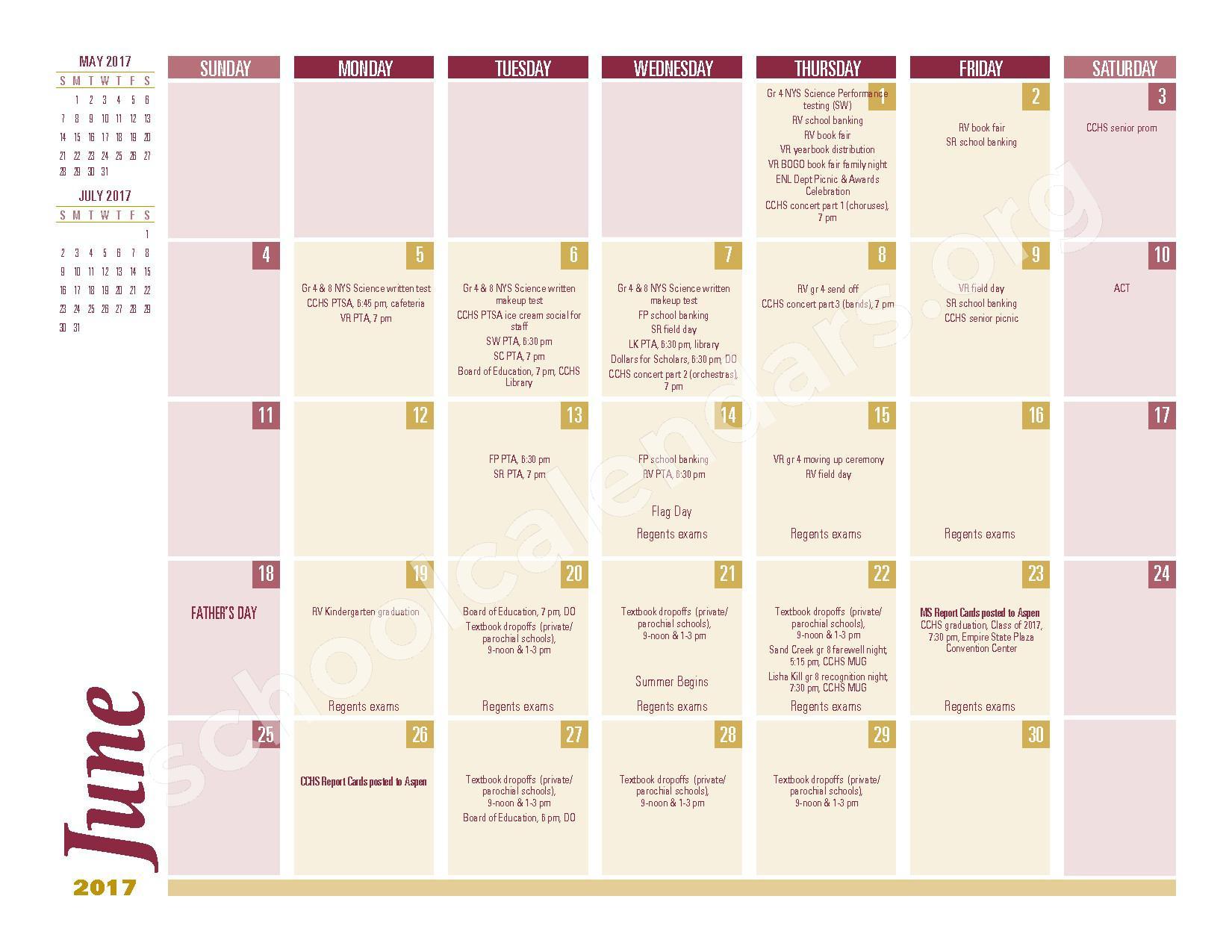 2016 - 2017 School Calendar – South Colonie Central School District – page 10