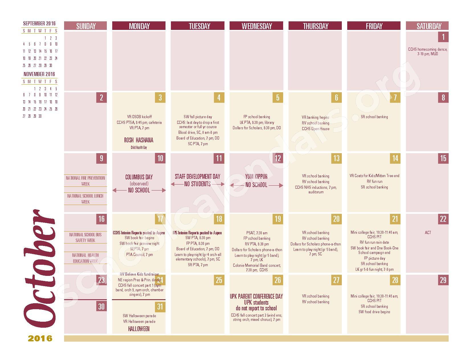 2016 - 2017 School Calendar – South Colonie Central School District – page 2