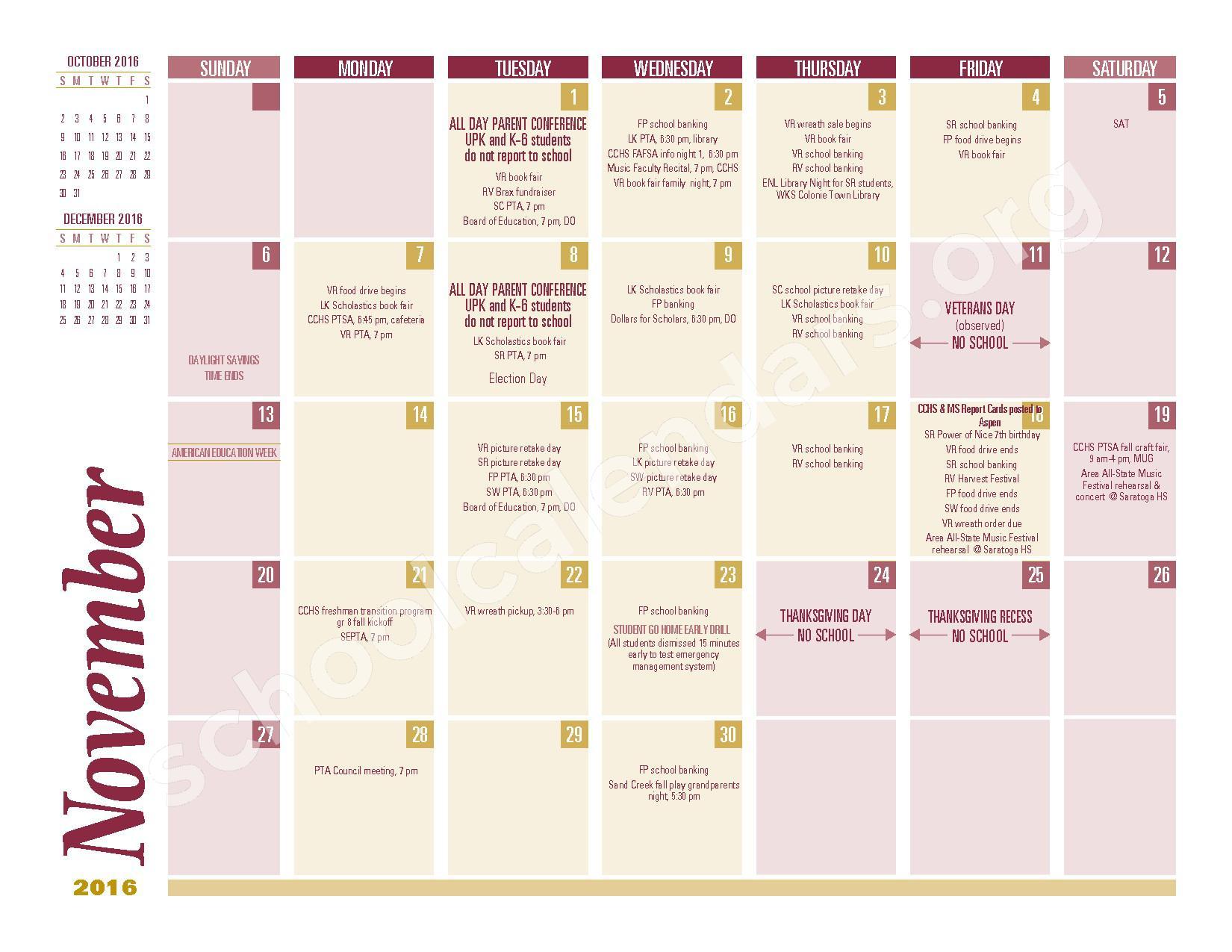 2016 - 2017 School Calendar – South Colonie Central School District – page 3