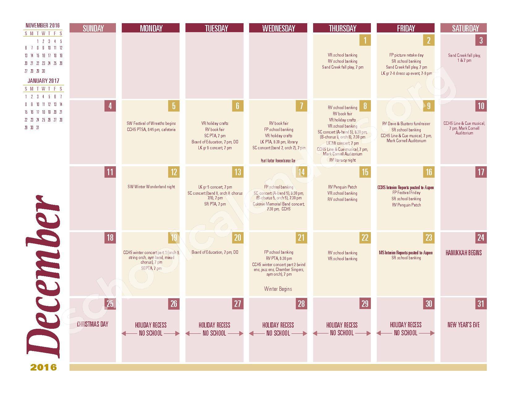 2016 - 2017 School Calendar – South Colonie Central School District – page 4