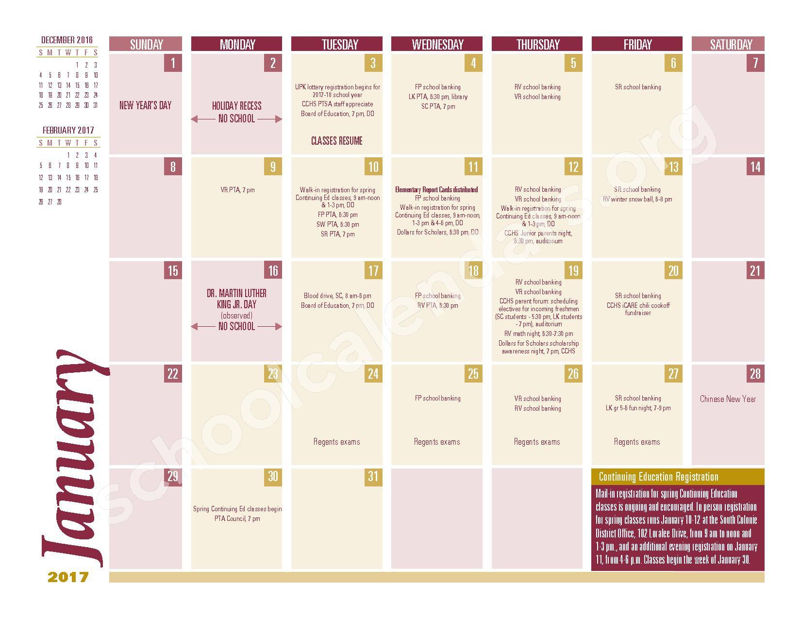 2016 - 2017 School Calendar – South Colonie Central School District – page 5