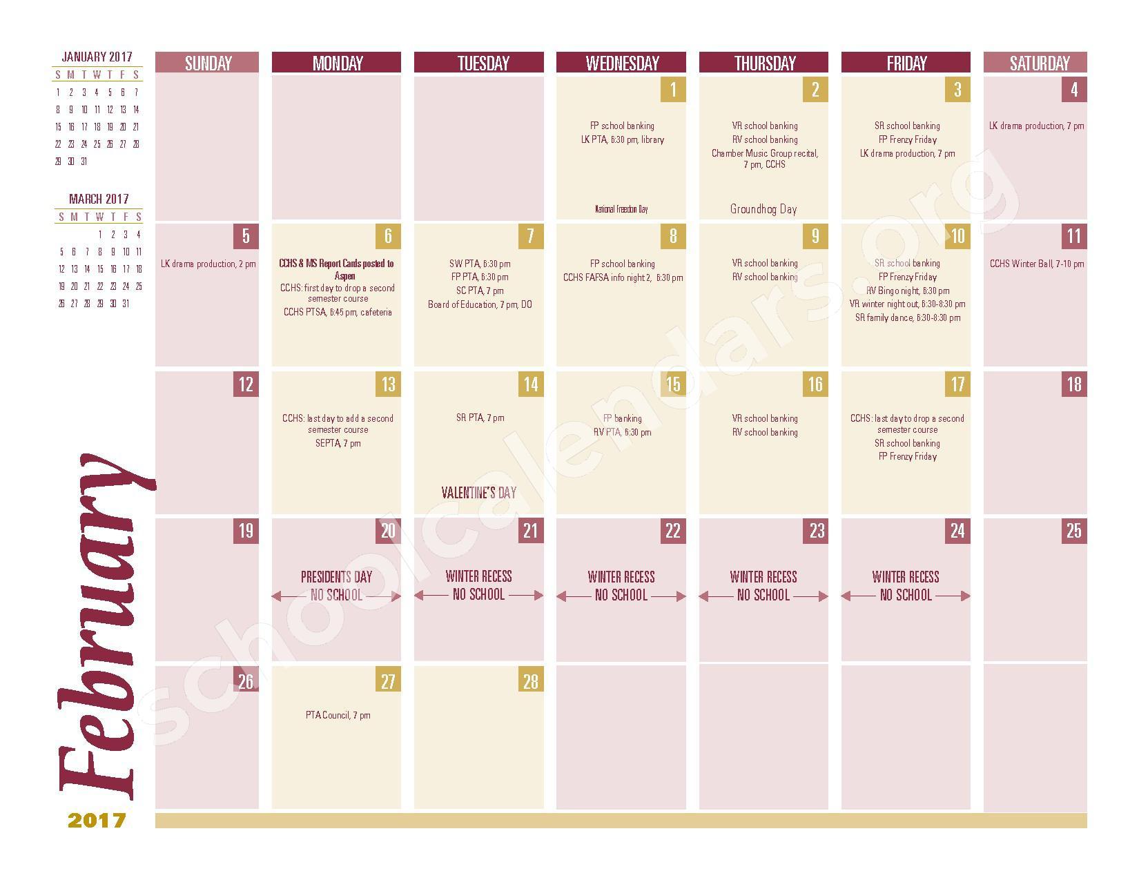 2016 - 2017 School Calendar – South Colonie Central School District – page 6