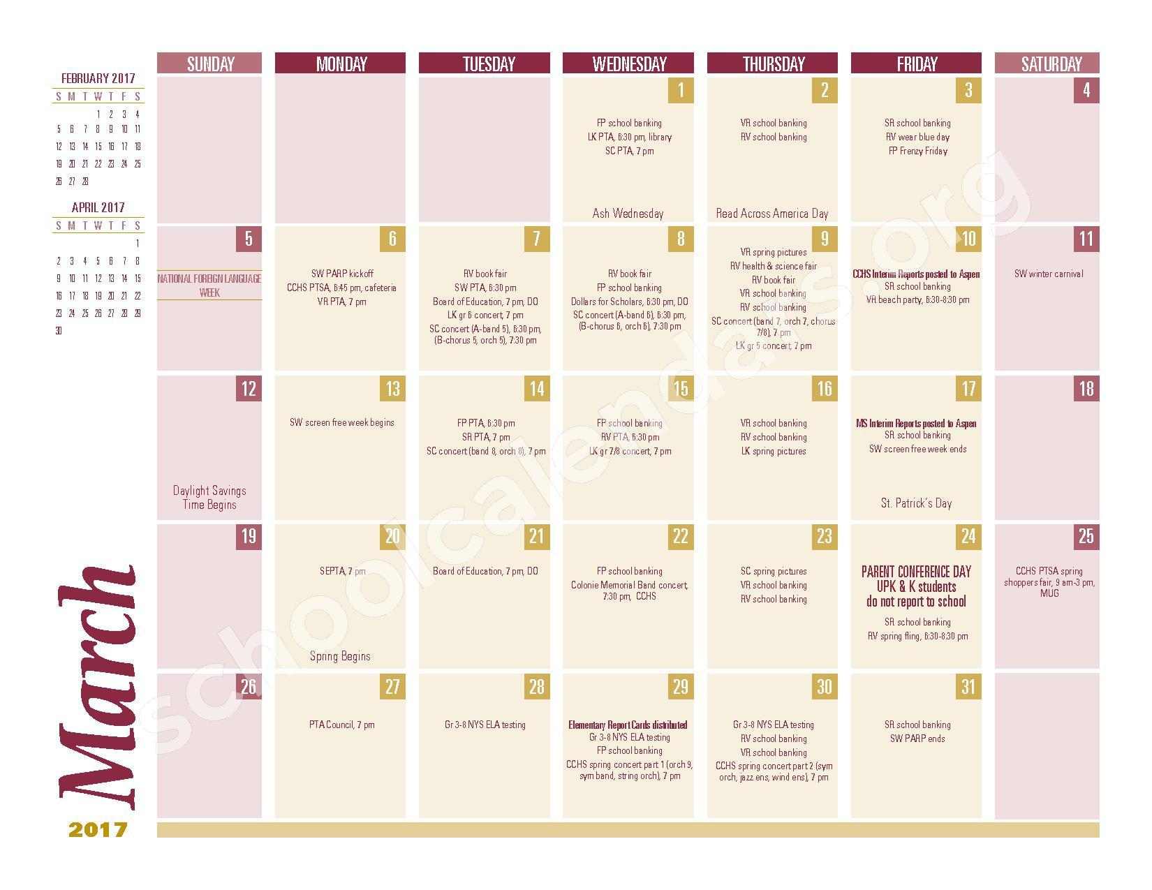 2016 - 2017 School Calendar – South Colonie Central School District – page 7