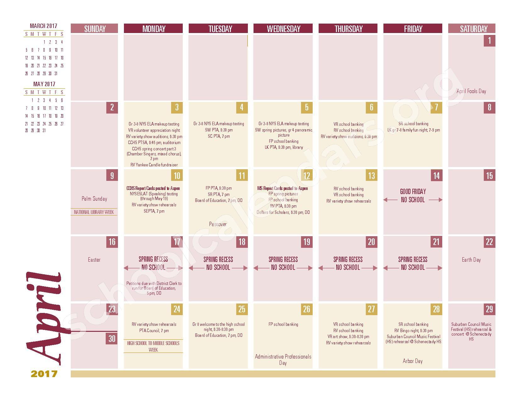 2016 - 2017 School Calendar – South Colonie Central School District – page 8