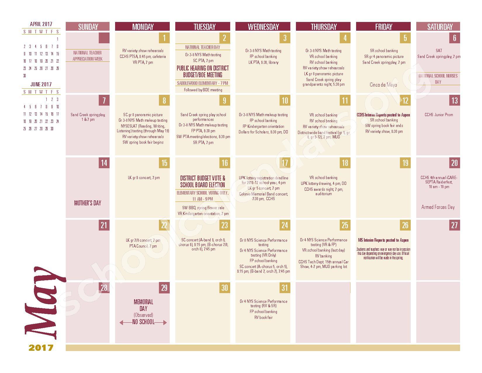 2016 - 2017 School Calendar – South Colonie Central School District – page 9