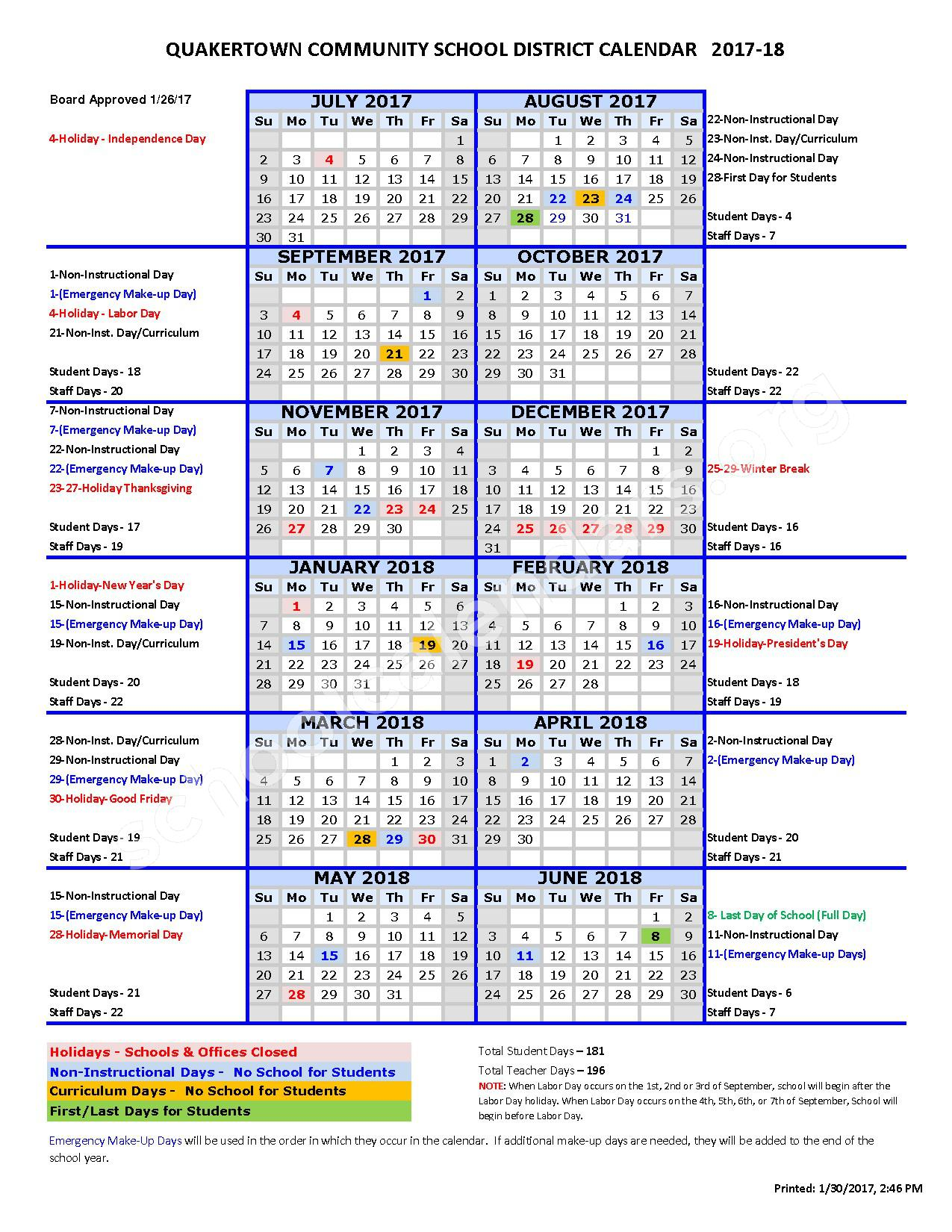 2017 - 2018 School Calendar – Tohickon Valley Elementary School – page 1