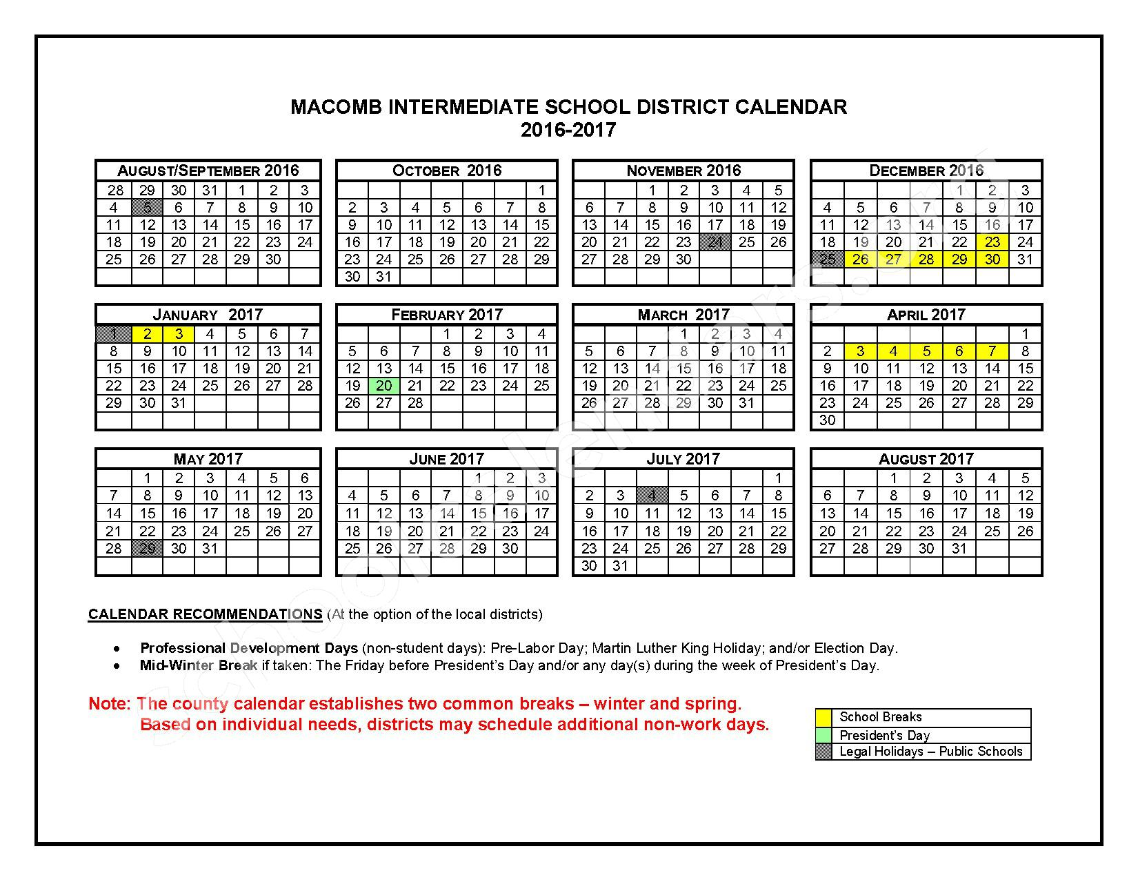 2016 - 2017 School Calendars – Roseville Community Schools – page 1
