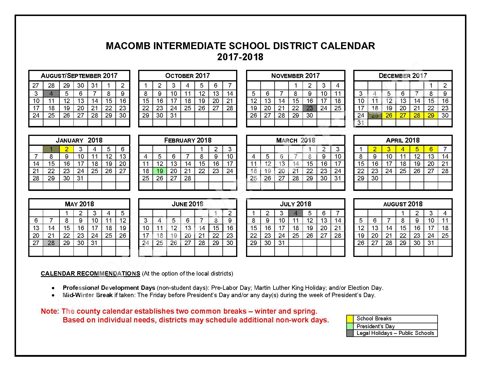 2016 - 2017 School Calendars – Roseville Community Schools – page 2