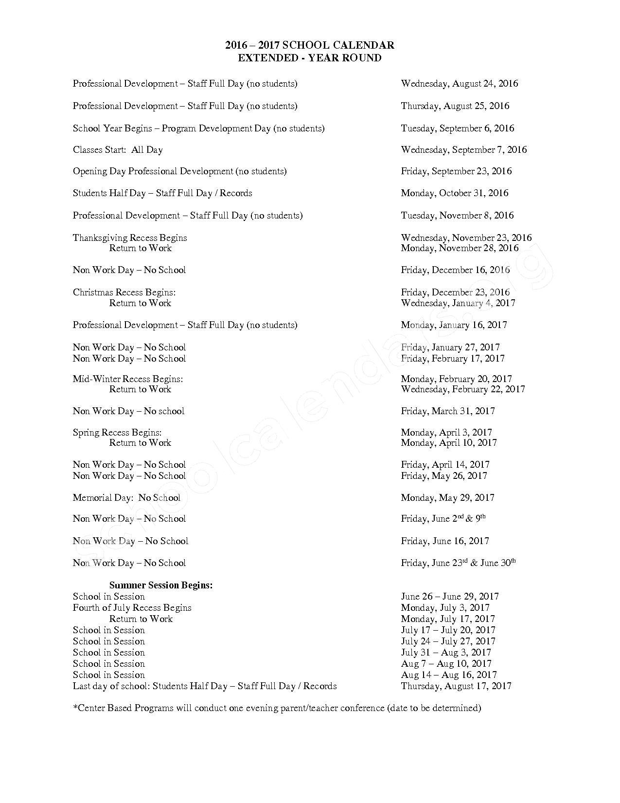 2016 - 2017 School Calendar – Roseville Community Schools – page 1