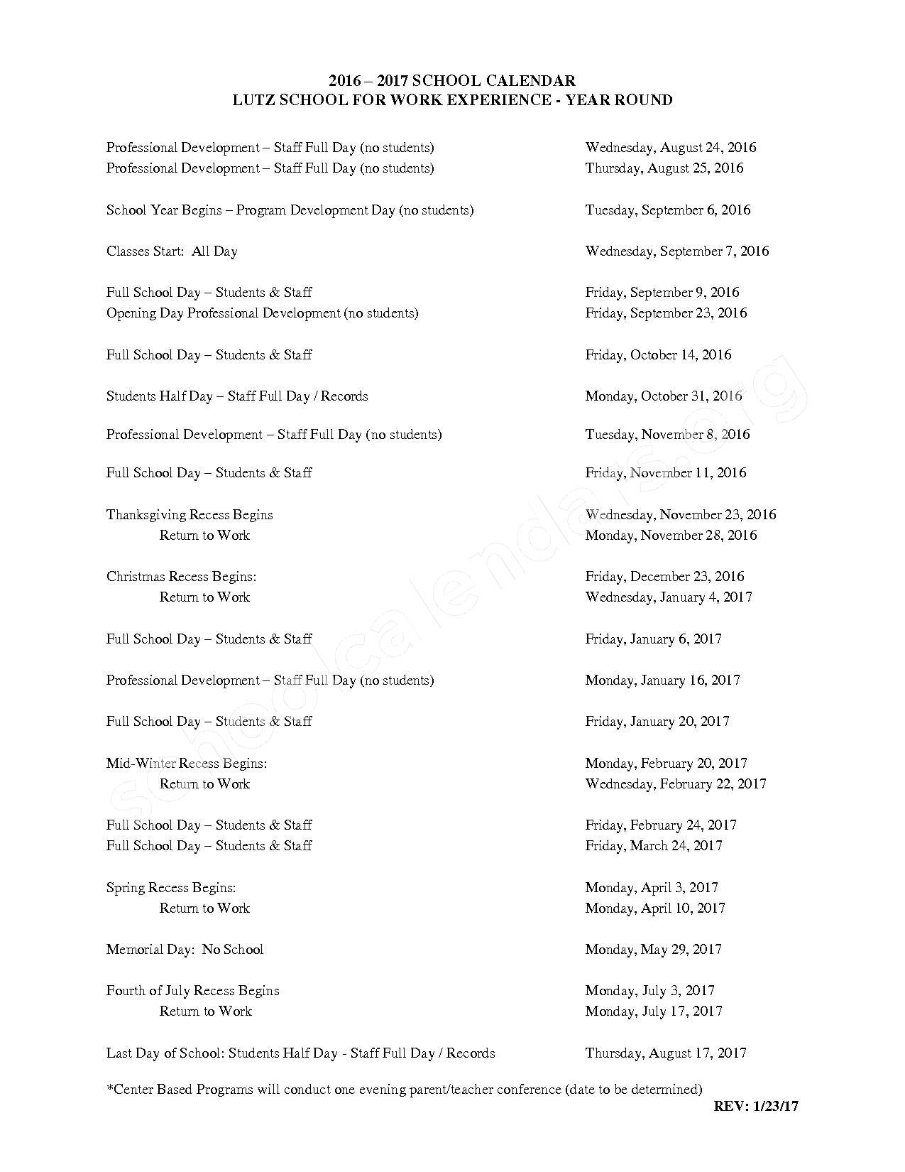 2016 - 2017 School Calendars – Roseville Community Schools – page 1