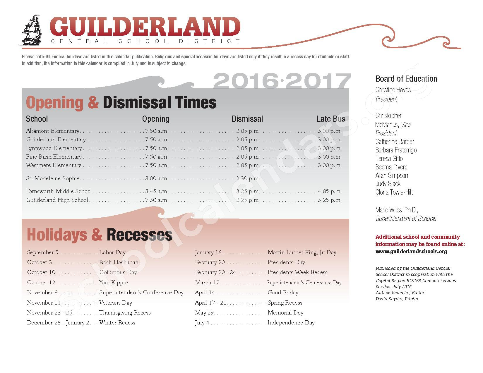 2016 - 2017 School Calendar | Guilderland Central School