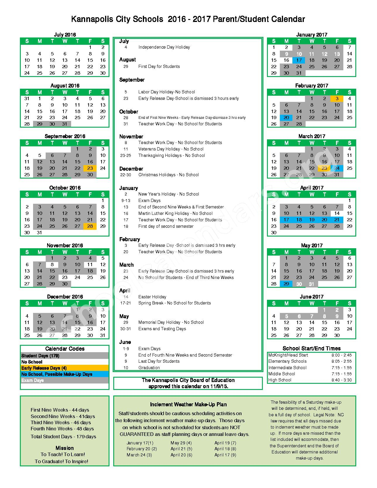 2016 - 2017 Student Calendar – Forest Park Elementary School – page 1