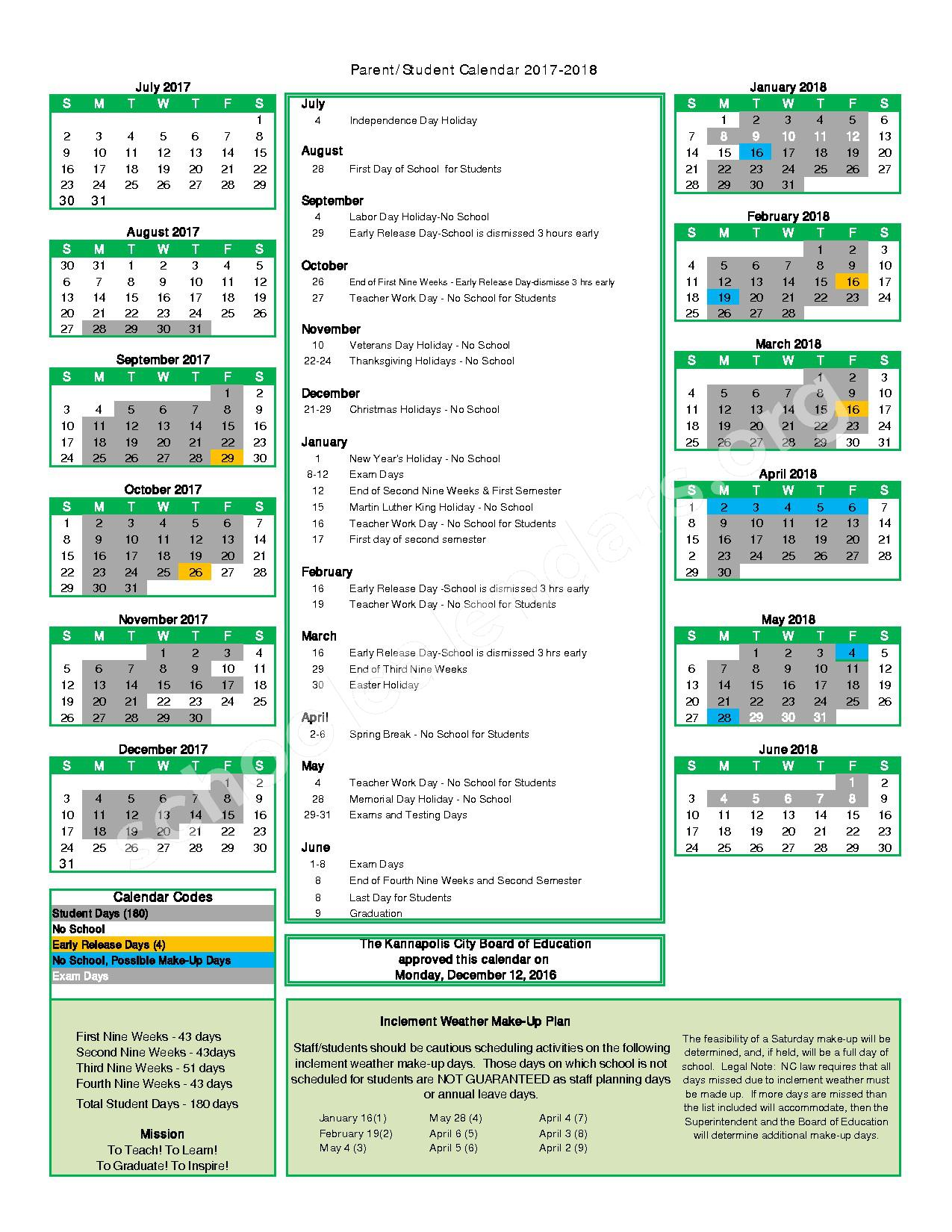 2017 - 2018 Student Calendar – Woodrow Wilson Elementary School – page 1