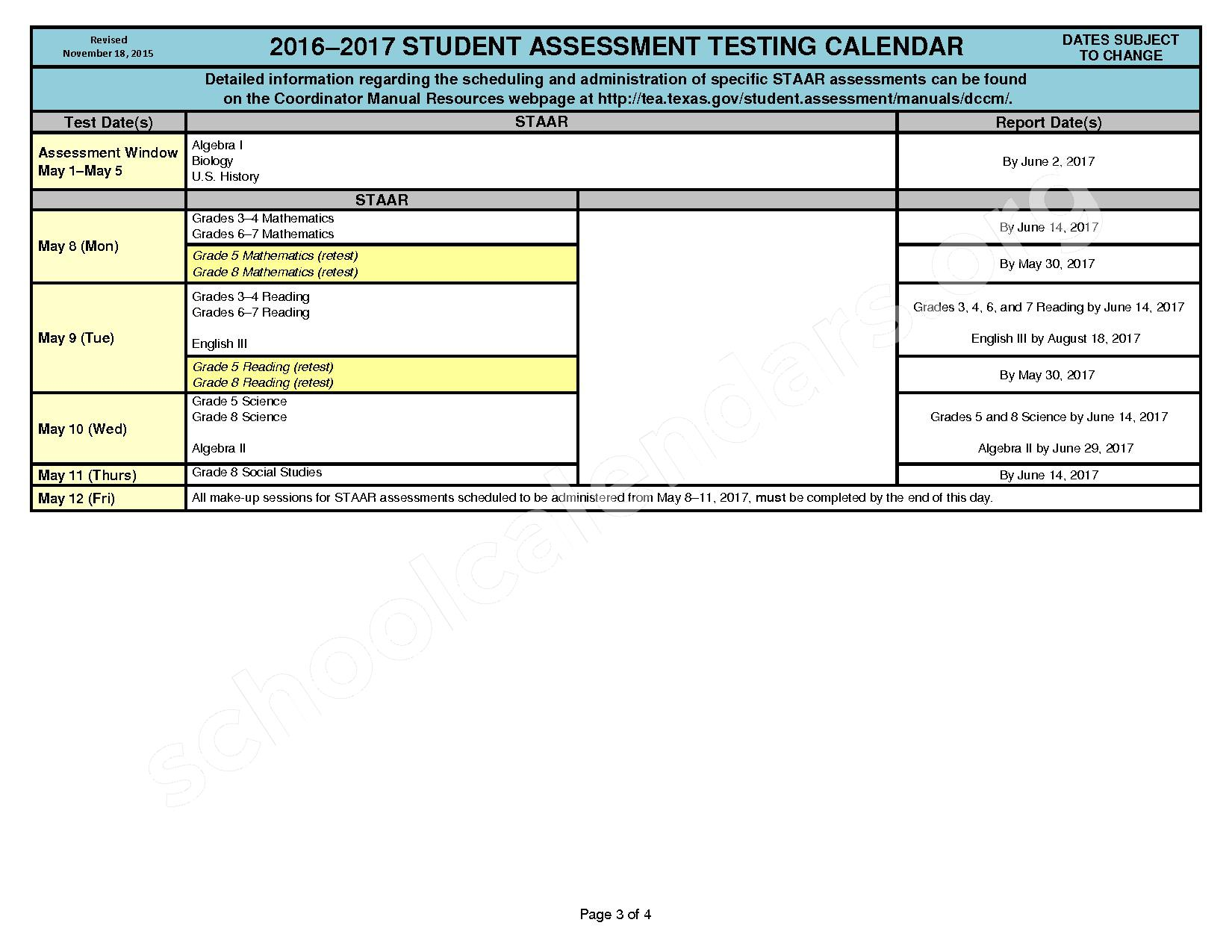 2016 - 2017 State Testing Calendar – Crosby Independent School District – page 3