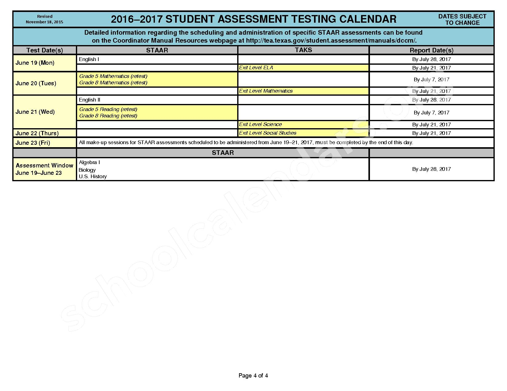 2016 - 2017 State Testing Calendar – Crosby Independent School District – page 4