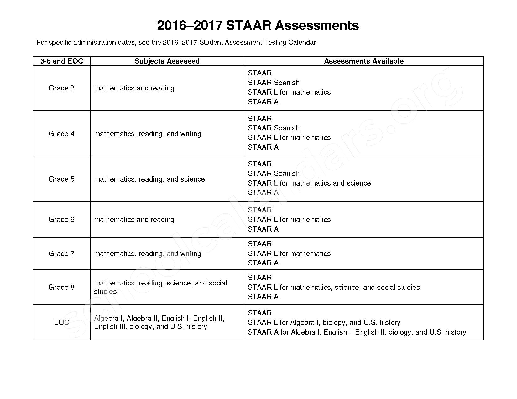 2016 - 2017 State Testing Calendar – Crosby Independent School District – page 5