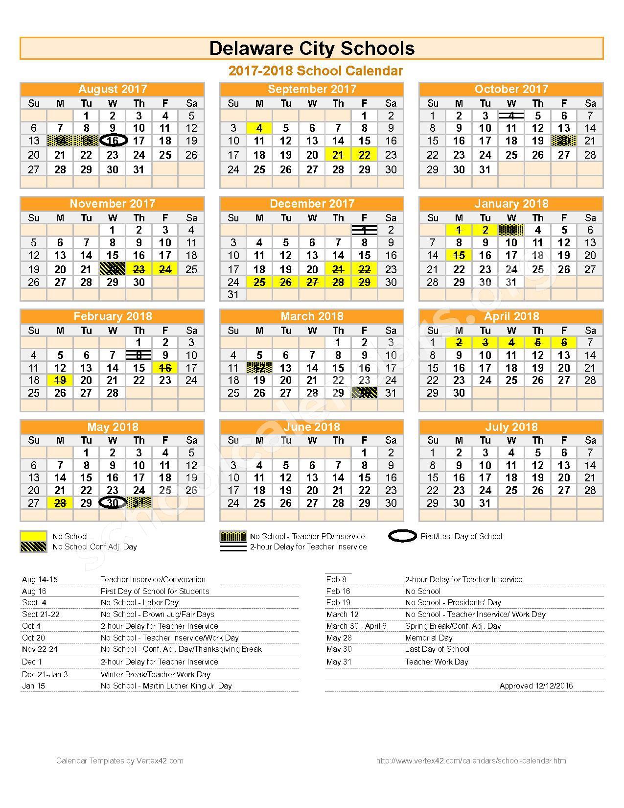 2017 - 2018 Delaware City Schools Calendar – Delaware City Schools – page 1