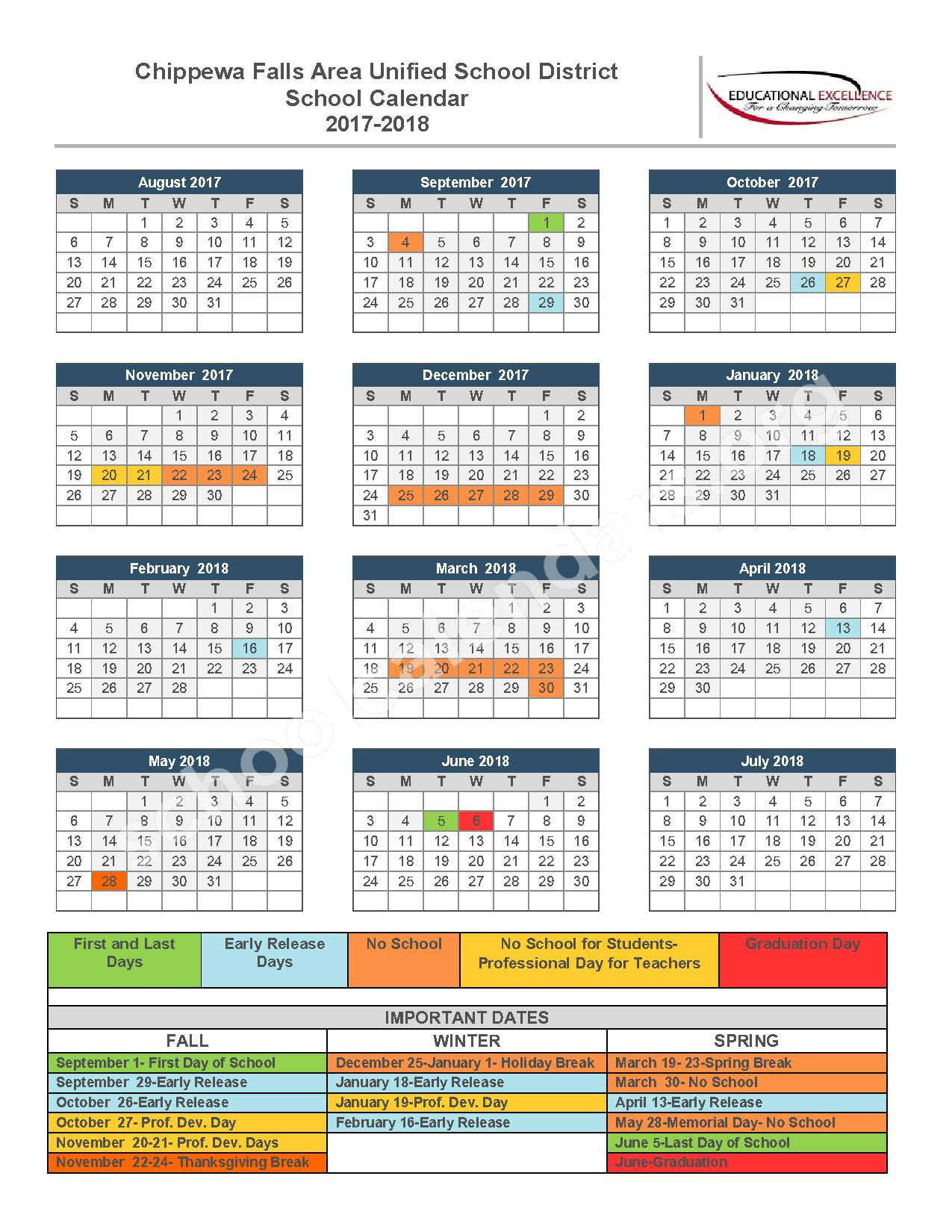 2017 - 2018 School Calendar – Chippewa Falls Middle School – page 1