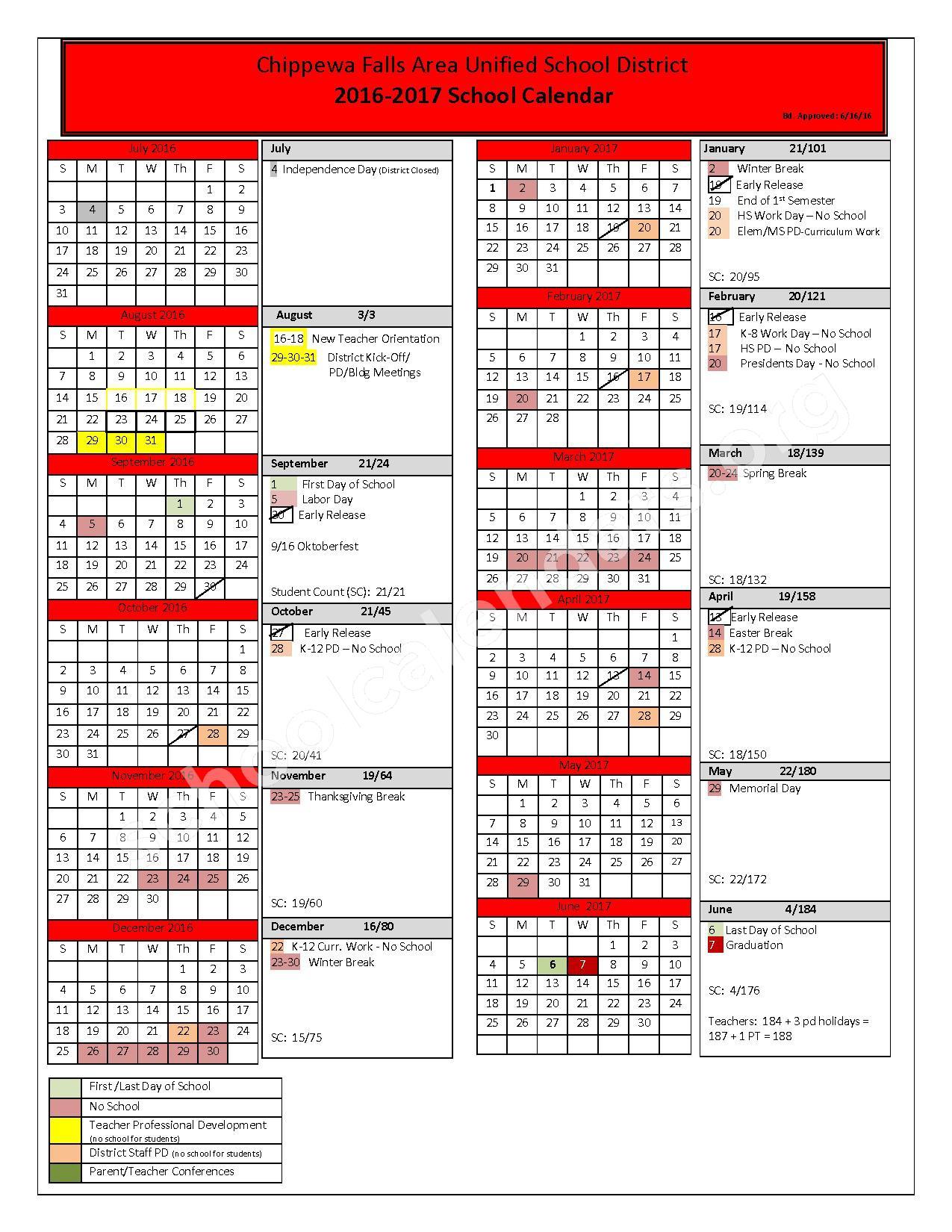 2016 - 2017 School Calendar – Halmstad Elementary School – page 1
