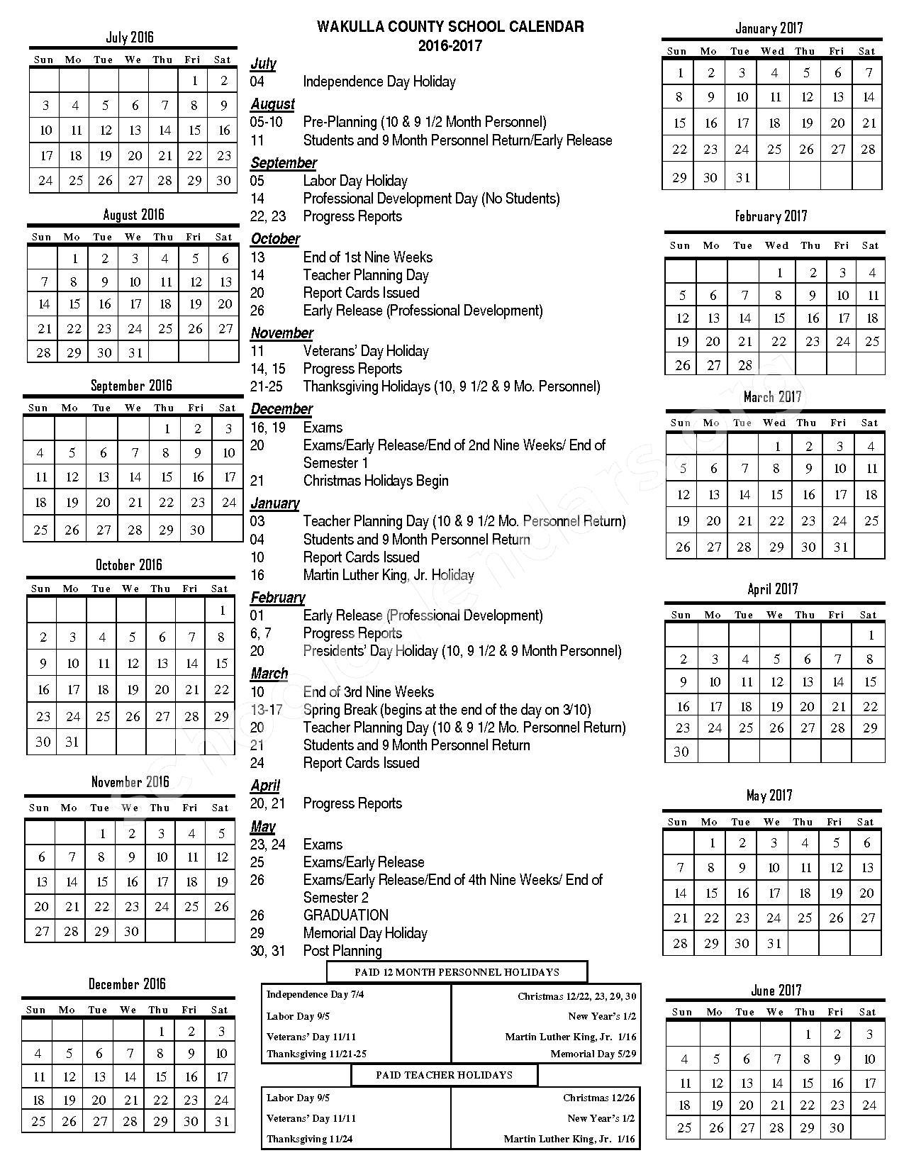 2016 - 2017 School Year Calendar – Wakulla County School District – page 1