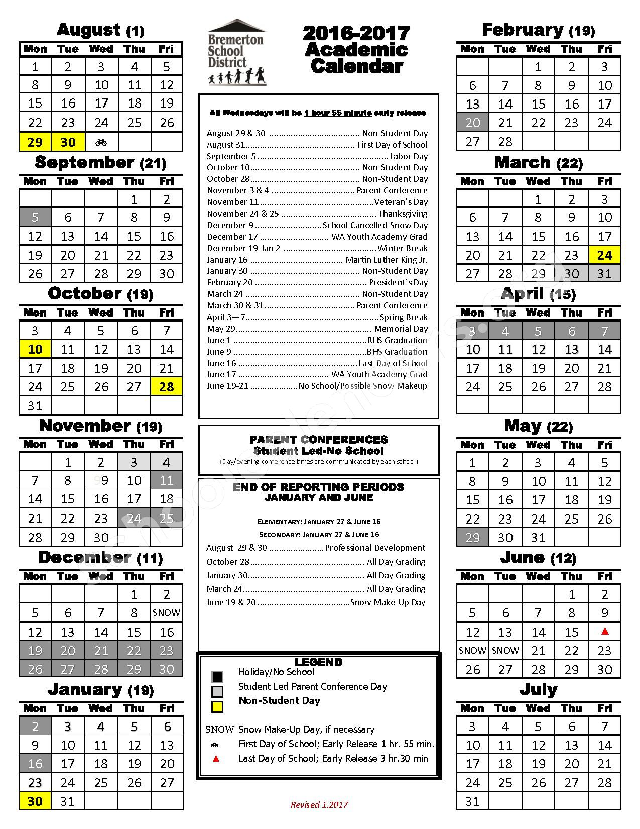 2017 - 2018 ACADEMIC CALENDAR – View Ridge Elementary School – page 1