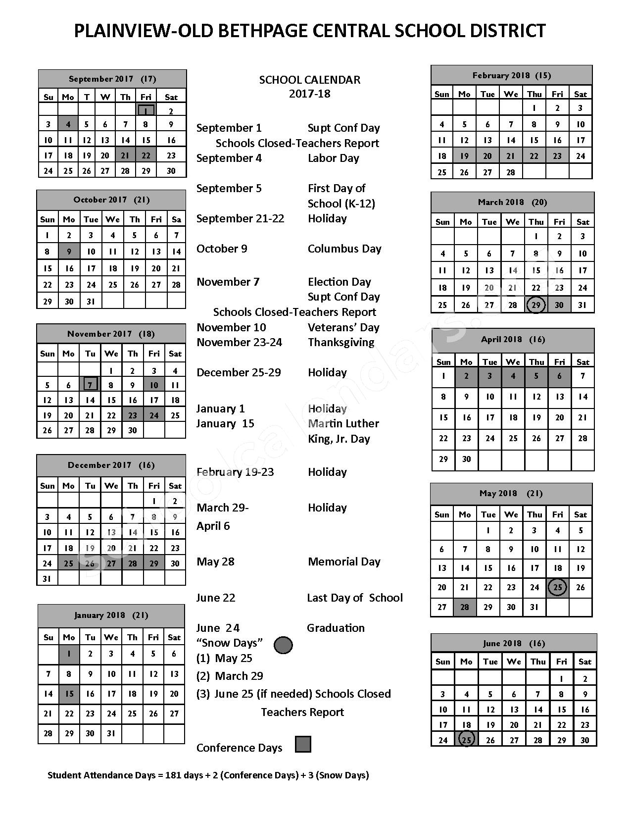 2017 - 2018  School Calendar – Old Bethpage School – page 1
