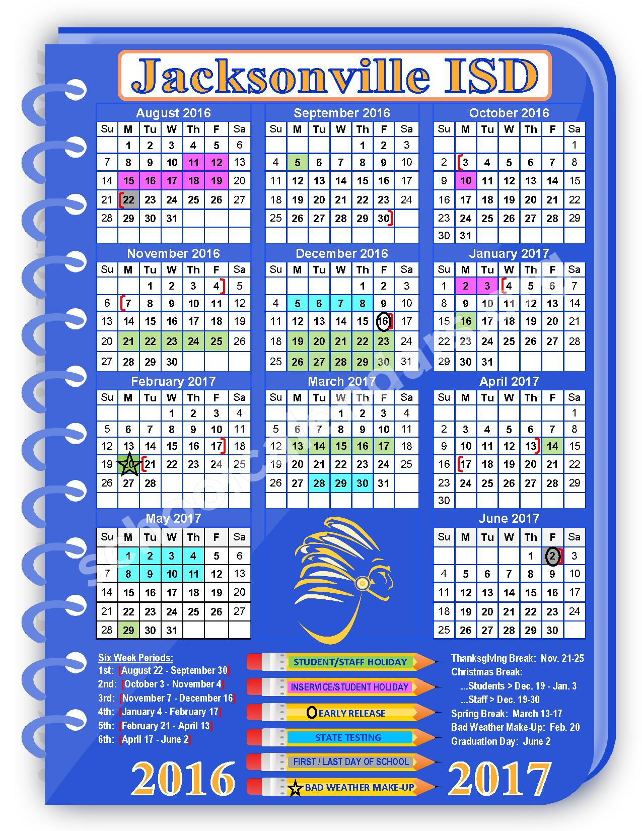 2016 - 2017 JISD School Calendar – Jacksonville Independent School District – page 1