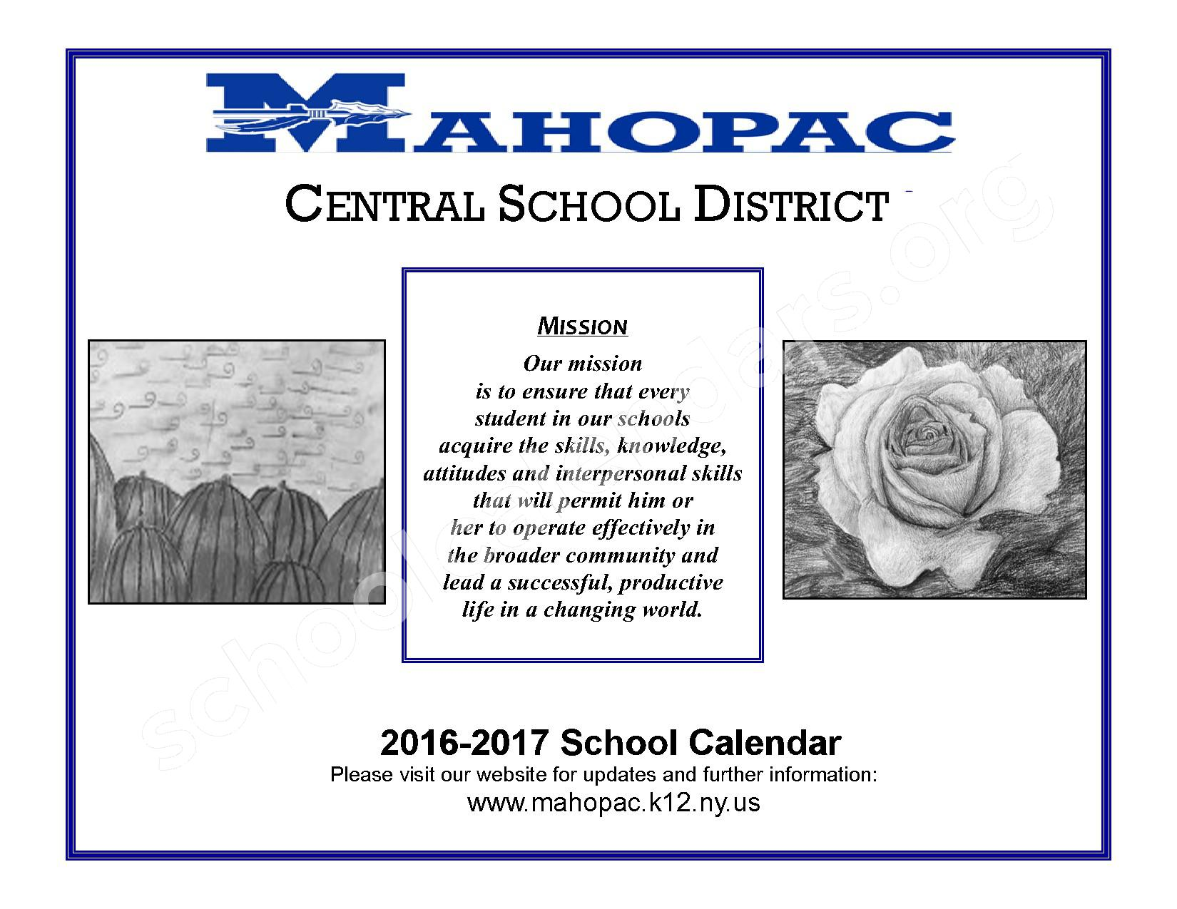 2016 - 2017 District Calendar – Mahopac Falls Elementary School – page 1