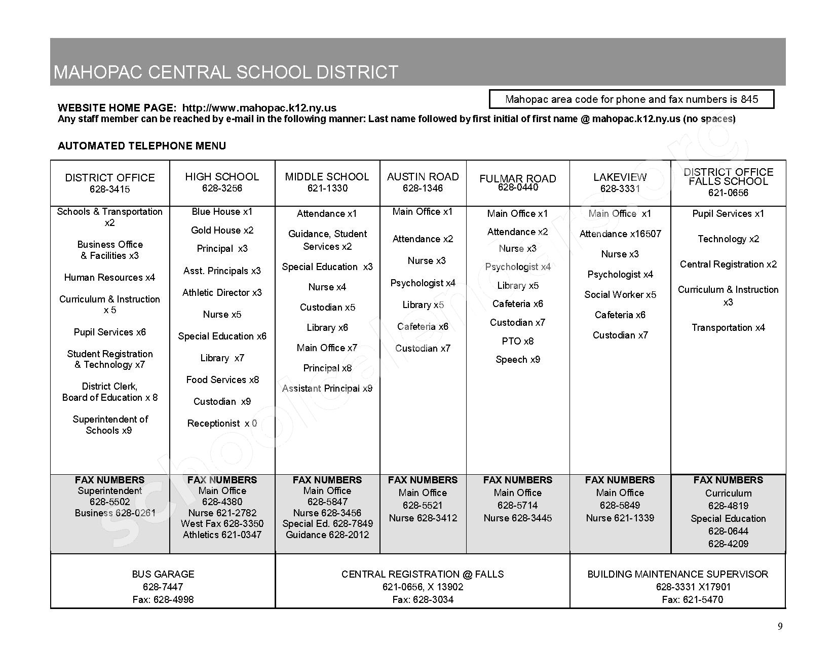 2016 - 2017 District Calendar – Mahopac Falls Elementary School – page 10