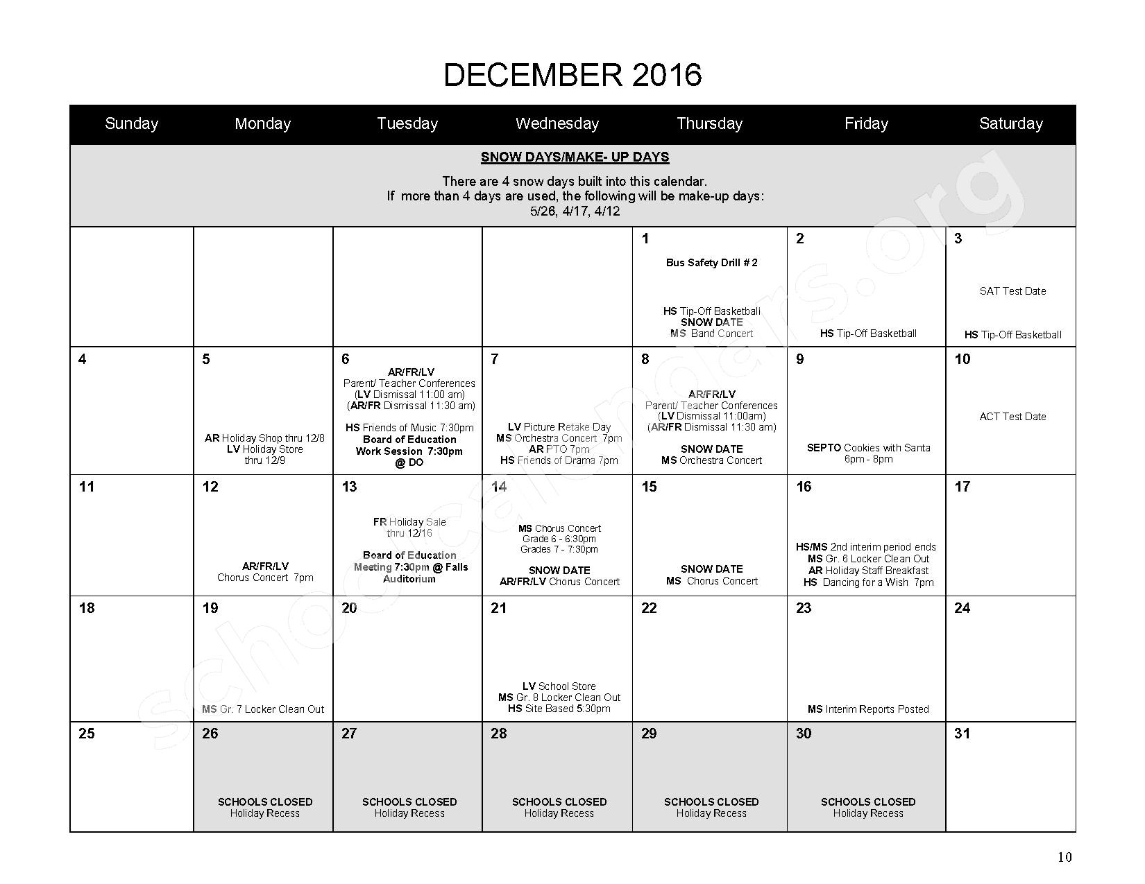 2016 - 2017 District Calendar – Mahopac Falls Elementary School – page 11