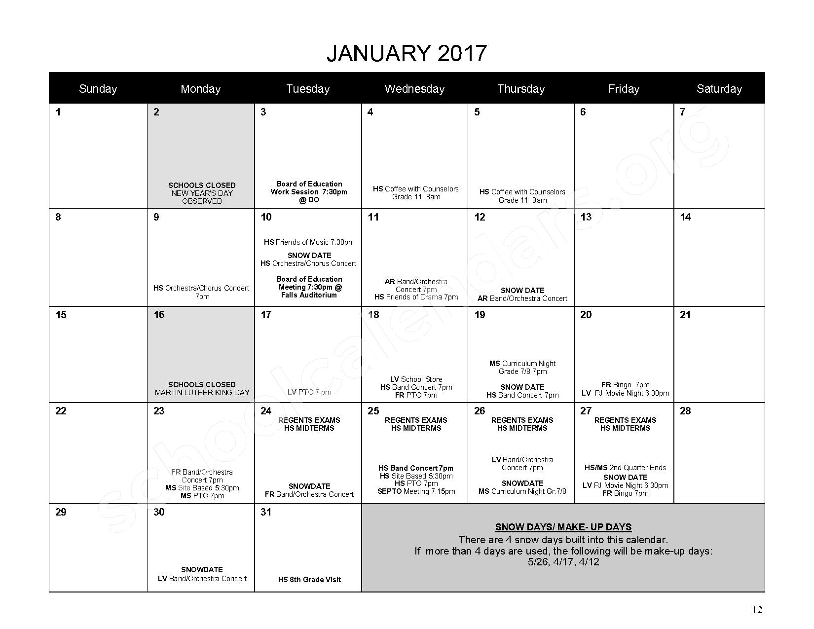 2016 - 2017 District Calendar – Mahopac Falls Elementary School – page 13