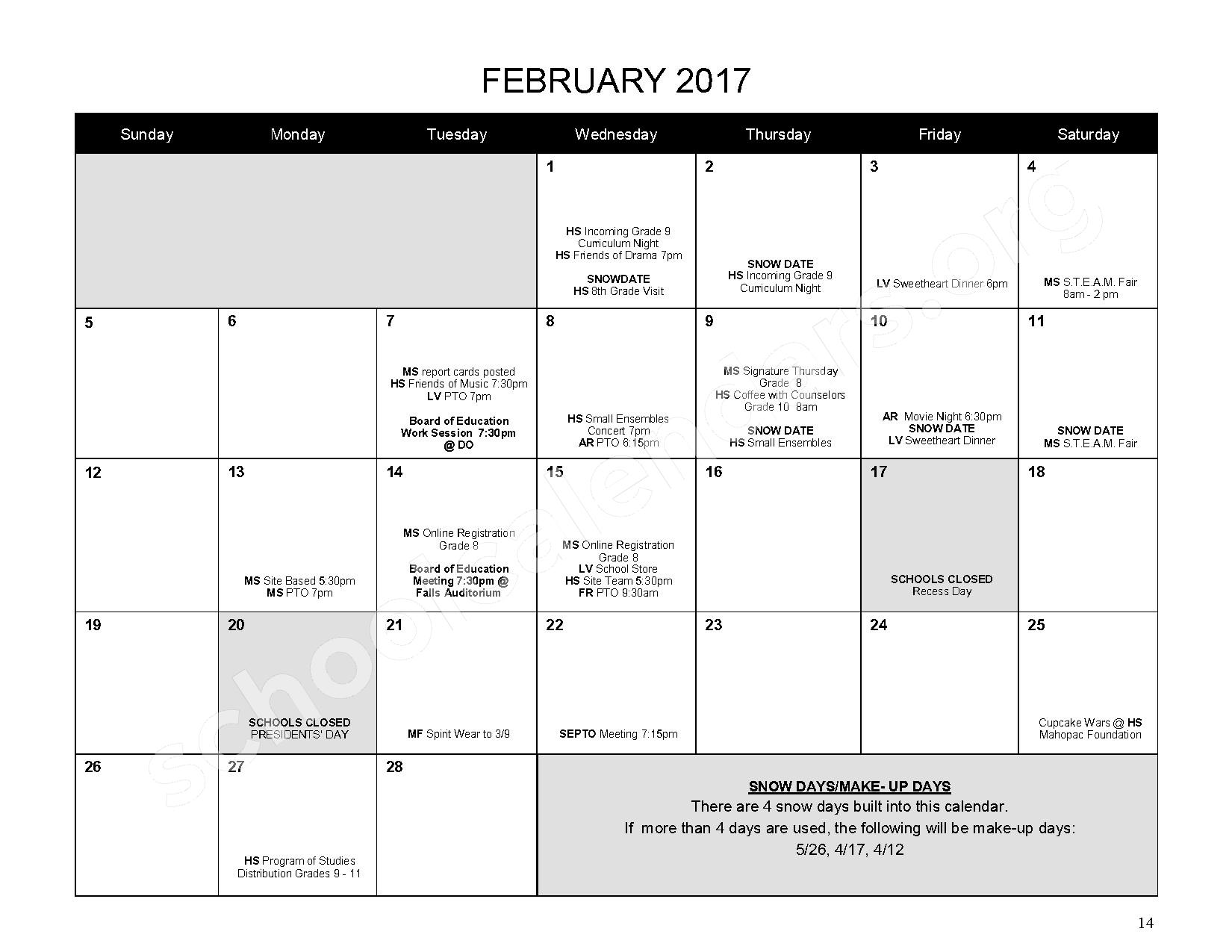 2016 - 2017 District Calendar – Mahopac Falls Elementary School – page 15