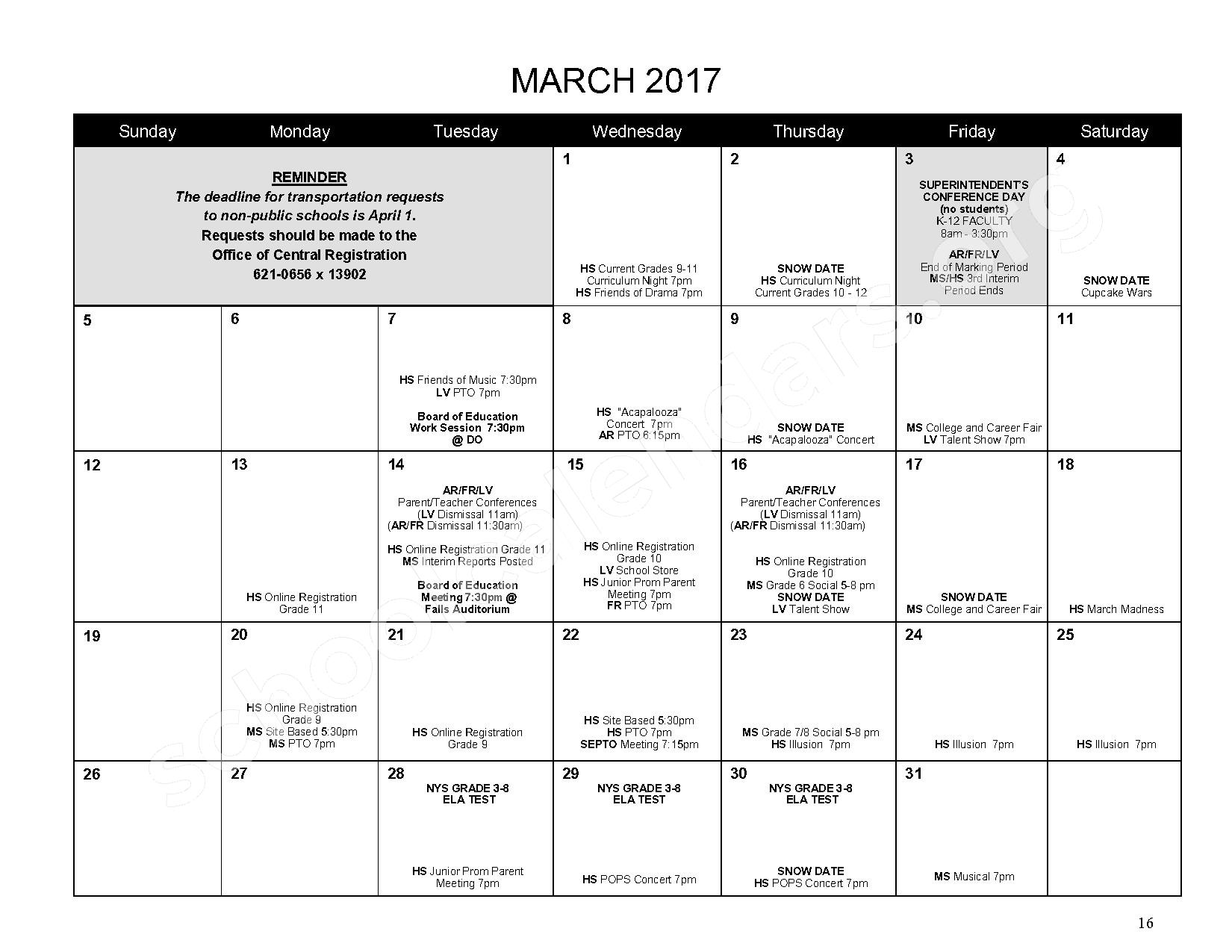 2016 - 2017 District Calendar – Mahopac Falls Elementary School – page 17