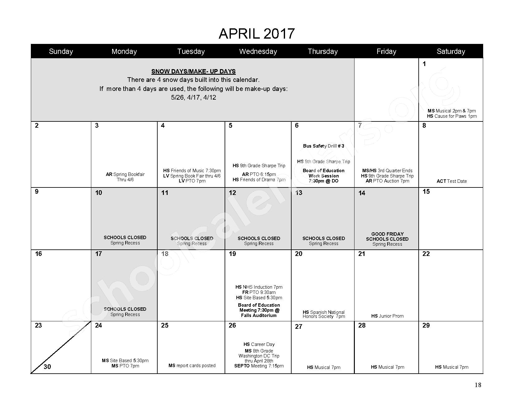 2016 - 2017 District Calendar – Mahopac Falls Elementary School – page 19